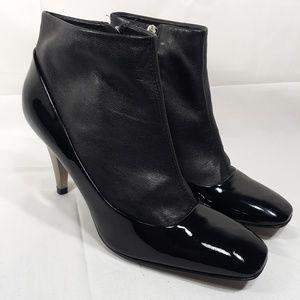 GIUSEPPE ZANOTTI Black Leather Patent Booties 38